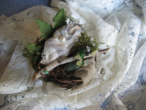 Nest of dreams in a tea cup... Assemblage Altered Art  Spirit Doll