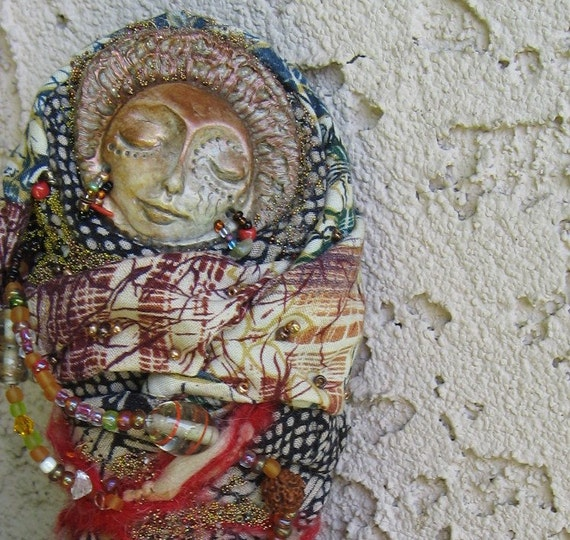 RESERVED Awesomeart Mix media Gypsy Tarot art doll  OOAK Assemblage Original by Griselda