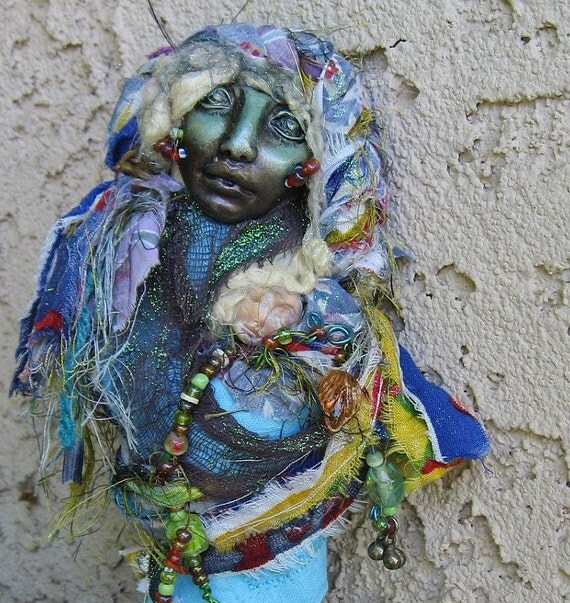 Nut, Sky Goddess OOAK Assemblage Gypsy Bohemian Art Doll.  Cottage Chic