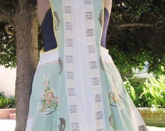Vintage Tablecloth Apron in a Mint Green and Yellow Kitchen Theme