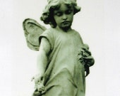 cemetery statuary art of wistful angel girl fabric transfer
