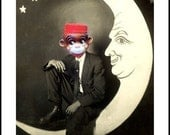 PAPER MOON  VINTAGE TOY MONKEY MAN COLLAGE CARD