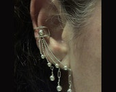 Sterling Silver Triple drop Ear cuff pair