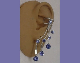 Ear Cuff  in Tanzanite rhinestone for right or left ear