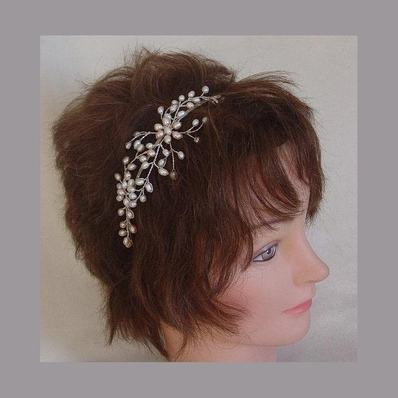 Bridal pearl headband wedding bridesmaid hair accessory