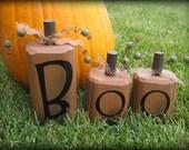 Boo Halloween wooden pumpkins