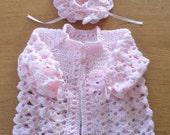 Baby \/ Girl \/ Crochet \/ Heirloom \/ Layette \/ Jacket \/ Sweater \/ Bonnet