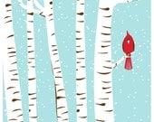 Screenprint Art - Winter Cardinal Art Print - Poster Silkscreen Hand Pulled - Snow w/ Birch Trees & Red Bird Art Print