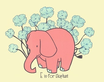 Screenprint - Nursery Art Print E is for Elephant  - Alphabet Print Nursery Decor Poster - Wall Art Animal Art Print - Modern Baby Shower