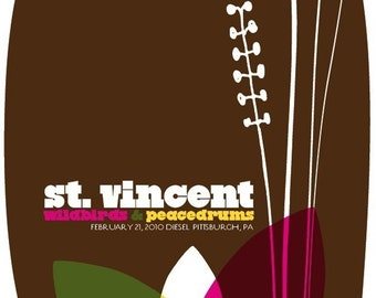 Rock poster St Vincent hand screenprinted gig poster - limited edition