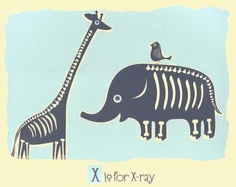 X is for X-ray Screenprint - Nursery Art Alphabet Letter Poster - hand silkscreen Animal Art Print Kids Room Wall Decor