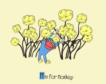 M is for Monkey Screenprint Nursery Art Print - Alphabet Print  - Silkscreen Animal Poster - Kids Wall Art Print