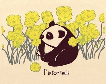 P is for Panda Nursery Print - Alphabet Print Screenprint ABC Poster - Animal Nursery Art - Kids Wall Art by strawberryluna