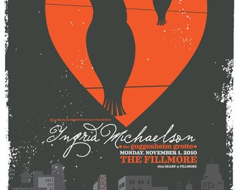 Show Poster - for Ingrid Michaelson at the Fillmore San Francisco  - very limited edition rock gig poster