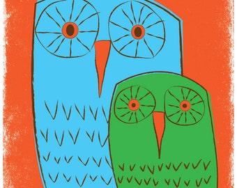 Giclee Owls & Owl Family Giclee Art Print - We 3 Owls Good Morning - Nursery Art Print
