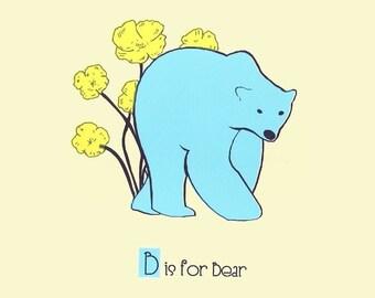 Screenprint Alphabet Print Nursery Art - B is for Bear - hand screenprinted Animal Art Print