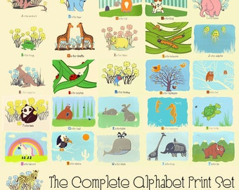 Alphabet Nursery Art Prints - The Complete A-Z Animal Alphabet Set - hand screenprinted