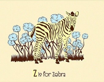 Alphabet Print Nursery Art - Z is for Zebra - hand screenprinted Animal Art Print