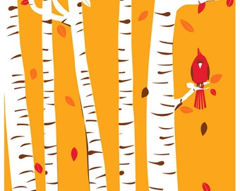 Screenprint Art Print Poster Autumn Cardinal - Fall Birch Trees with Leaves & Red Bird Art Print Poster