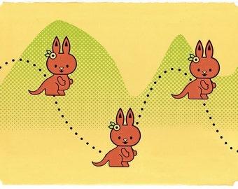 Boing Boing - Cute Childrens Art Print - hand screenprinted nursery art