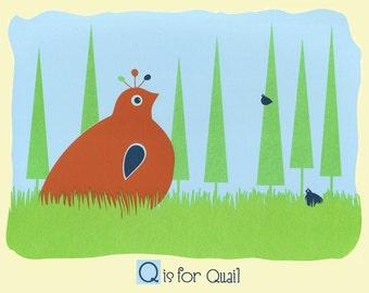 Screenprint Alphabet Print - Nursery Art Poster - Q is for Quail - Kids Wall Art Animal Art Print