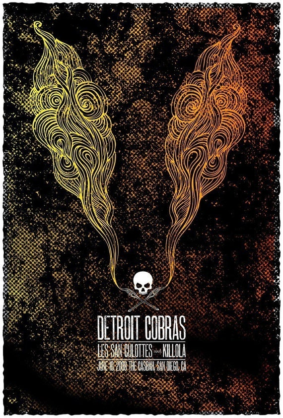 Rock poster -  The Detroit Cobras hand screen printed show poster - limited edition