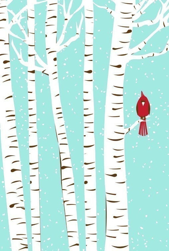 Winter Cardinal - hand screenprinted art print (Winter 2010)