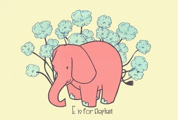 Screenprint - Nursery Art Print E is for Elephant  - Alphabet Print Nursery Poster - Kids Wall Art Animal Art Print