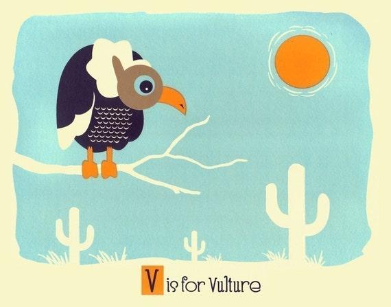 Kids Wall Nursery Art - V is for Vulture - Alphabet Print - Screenprint Animal Art Print