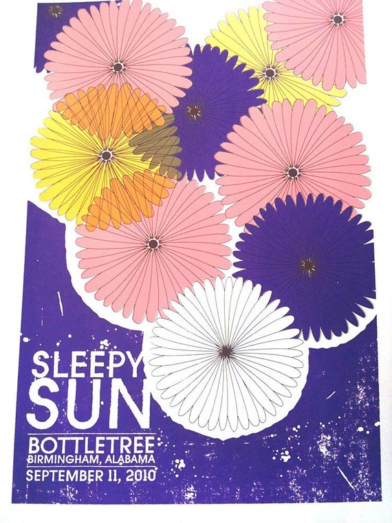 Rock gig poster - Sleepy Sun - hand screenprinted, limited edition silksccreen