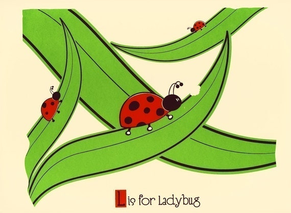 Screenprint L is for Ladybug Alphabet Print - Nursery Art Poster - Kids Room Wall Art Print