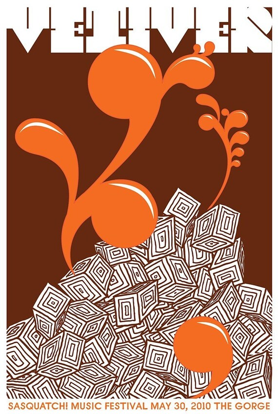 Vetiver at Sasquatch Festival rock gig poster hand screenprinted - limited edition silk screen