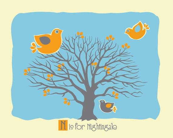 Nursery Art Alphabet Print - N is for Nightingale - Silkscreen Animal Alphabet Print Poster