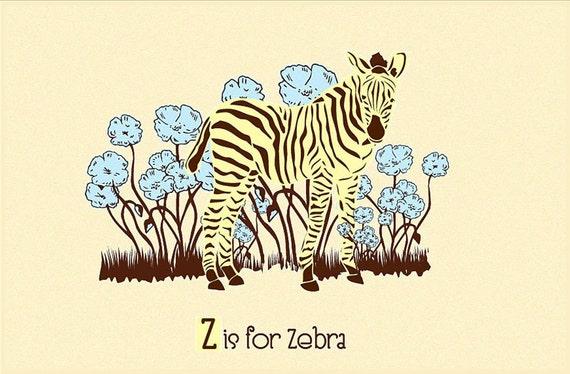 Alphabet Print Nursery Art - Z is for Zebra - hand screenprinted Animal Art Print