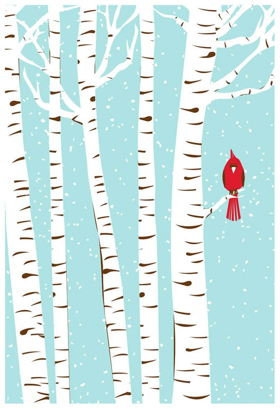Screenprint Art - Winter Cardinal Art Print - Poster Silkscreen Hand Pulled - Snow w/ Birch Trees & Red Bird Art Print