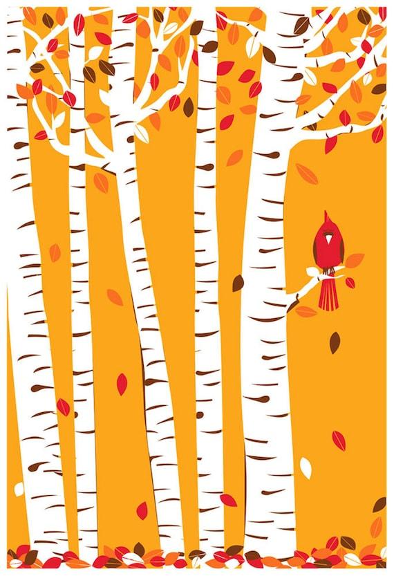 Screenprint Art Print Poster Autumn Cardinal - Fall Birch Trees with Leaves & Red Bird Art Print Poster