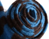 Skinny Felted Merino Lambswool Scarf in Teal and Chocolate