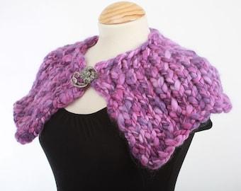 Purple Haze Capelet - Hand Knitted Mini Cape - Merino Wool