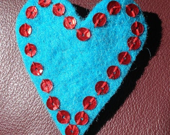 Heart Sequin Brooch in Turquoise