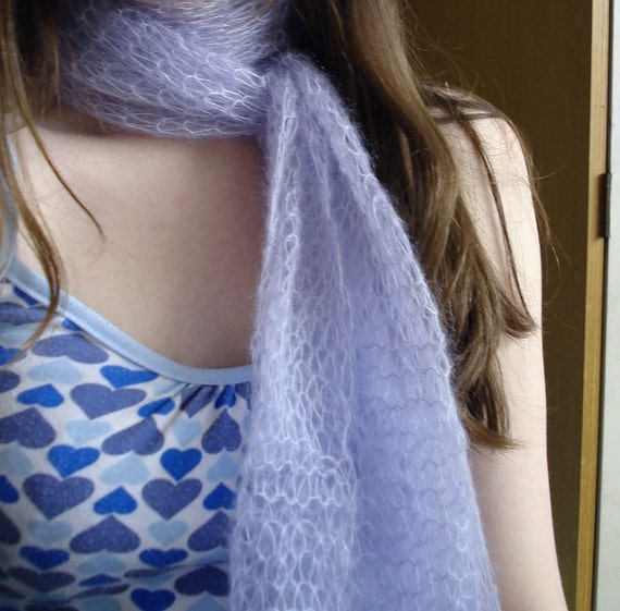 Beautiful Lace Shawl in Icy Blue - Silk & Mohair Hand Knit