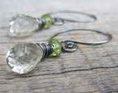 Spring Rhapsody - Green Lily Pad, Prasiolite and Peridot Wire Wrapped Oxidized Sterling Earrings