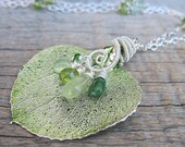 The First Green Leaf Necklace ... Spring Green Aspen Leaf with Wire Wrapped Vine