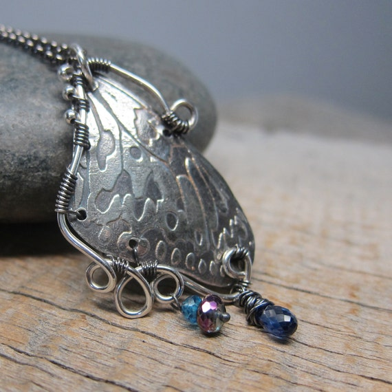 I Dreamt I was a Butterfly IV Necklace - Fine Silver Butterfly Wing with Wire Wrapping