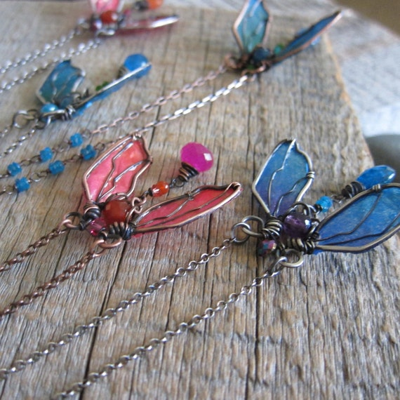 Cicada Tears Necklace - Wire Wrapped Sterling Silver Insect with Peacock and Emerald Wings