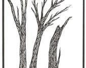 Skeletal trees original black and white artwork
