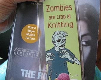 Zombies are Crap at Knitting Book mark in Sleeve