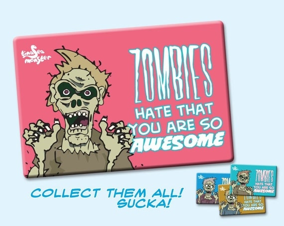 NEW DESIGN Zombies Hate that You are Awesome 2 x 3 Fridge Magnet PINK