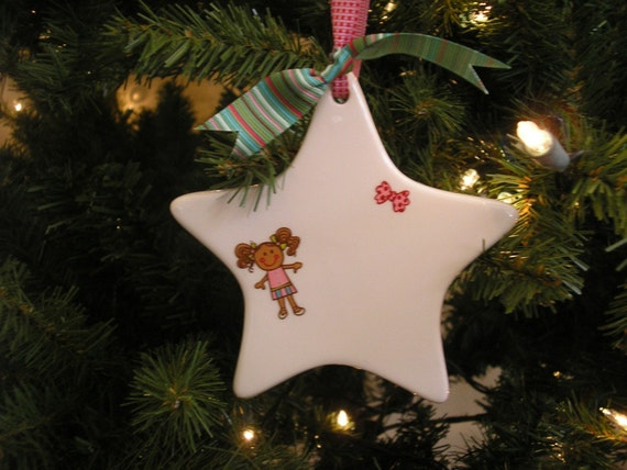 Ceramic Star Ornament- Can be personalized