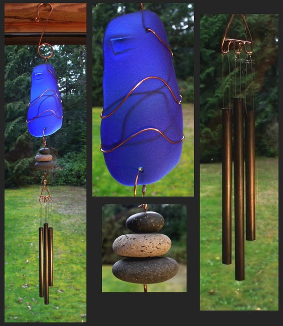 Wind Chime, Beach Glass, Stained Glass, Sea Glass, Stone, Copper, Windchimes, Wind Chimes, Suncatcher