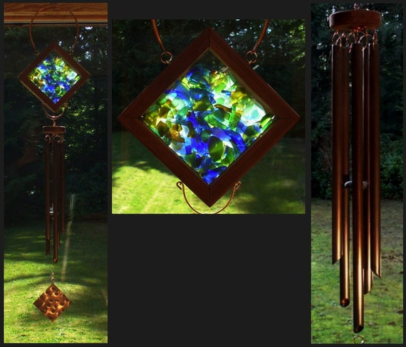 Wind Chime, Beach Glass, Sea Glass, Stained Glass, Copper, Windchimes, Windchime